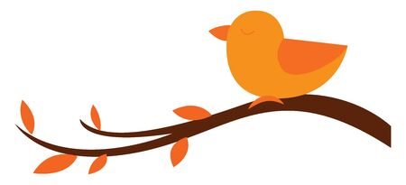 A cute little orange bird perched on the branches of the tree with oval-shaped leaves and eyes closed looks beautiful, viewed from the side, vector, color drawing or illustration. Ilustração