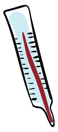 Pencil A thermometer marked with graduations containing mercury to measure the temperature of the body, vector, color drawing or illustration.