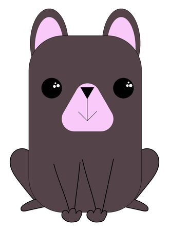 Cute little purple dog with short pink ears is sitting down with eyes rolled left isolated over a white background, vector, color drawing or illustration.