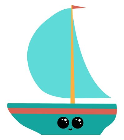 A blue ship sailing across the sea with a red colored flag that unfurls in the wind and the hull has a cute little face with eyes rolled left is smiling, vector, color drawing or illustration.