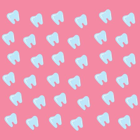 Regular patterns of the blue tooth with white exclamation mark arranged diagonally over pink background viewed from the front, vector, color drawing or illustration. 向量圖像