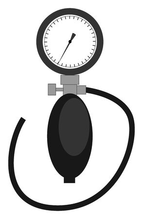 A tonometer in black and white for measuring the blood pressure set isolated on white background viewed from the front, vector, color drawing or illustration.