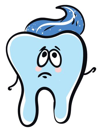Emoji of the A tooth with blue paste has two-stick like hands, and a cute face with eyes rolled up expresses sadness over white background, vector, color drawing or illustration. Ilustração