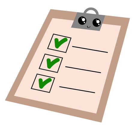 Emoji of the smiling writing pad brown in color with the green ticked to-do-list symbolizes the completion of planned work, vector, color drawing or illustration.