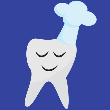 Portrait of the white tooth and rain pouring out of the cloud looks so cute while eyes closed over blue background, vector, color drawing or illustration. Ilustração