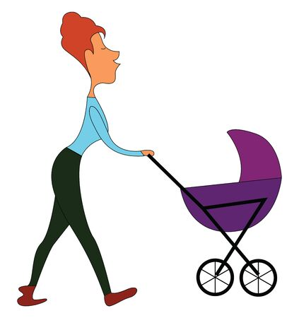 A beautiful mommy in a blue top, green pant walking with her eyes closed while pushing the stroller carrying her baby over white background viewed from the side, vector, color drawing or illustration.