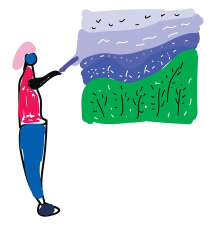 A tourist guide in a red shirt and a blue pant assisting and providing information on a landscape with few birds flying about the green grasslands, vector, color drawing or illustration.