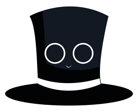 Black magician hat cylindrical in shape has a white ribbon tied to its base with which he plays tricks and pulls rabbits out of it, has a little smiling face, vector, color drawing or illustration.