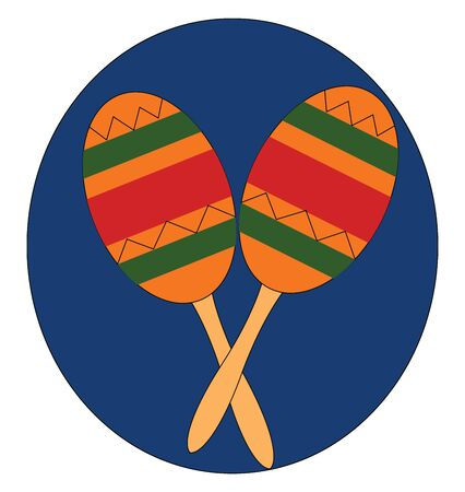 A pair of gourd maracas a gourd-shaped container filled with dried beans sets the beat to melodic fantasies when played, usually in pairs, by being shaken, vector, color drawing or illustration.