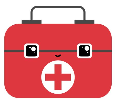 Red-colored medicine storage bag with some necessary medicines for outdoor activities or family emergency has a face with eyes rolled left-top is smiling, vector, color drawing or illustration. 向量圖像