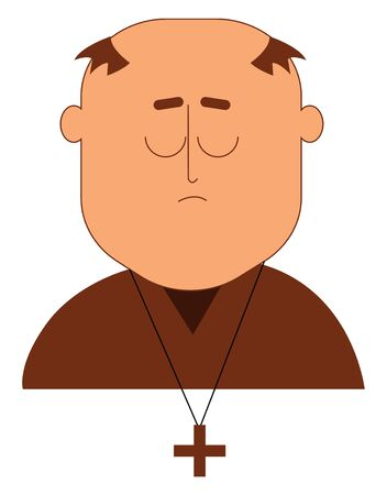 A Christian monk in a brown cassock and a cross-sign pendent has hair covering only the sides of the head with his eyes closed expresses sadness, vector, color drawing or illustration.