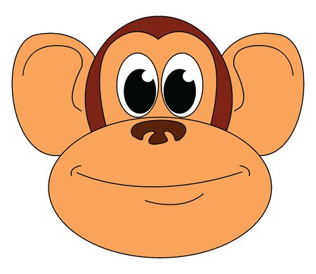 A face of a cartoon monkey with his eyes rolled up has big ears, and in gradient, brown is smiling, vector, color drawing or illustration.