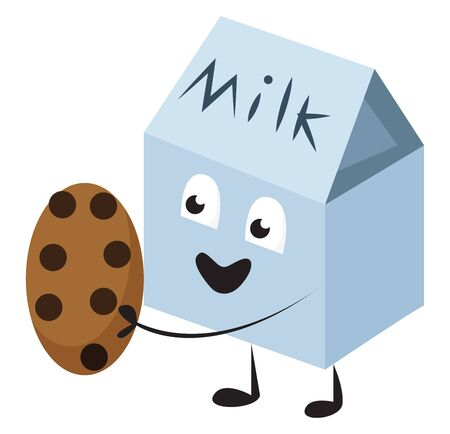 Emoji of a blue milk pack holding a cookie to its front and smiling about the thought of enjoying it looks cute and lovely, vector, color drawing or illustration. 일러스트