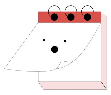 Emoji of the wire-bound spring-type red calendar has a cute little face and looks scared while the first paper of it drifts through the air, vector, color drawing or illustration.
