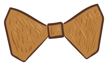 A wooden bow that has a knot tied with two loops, and two loose ends, used as decorative ribbons for costumes, or hairstyles, vector, color drawing or illustration.