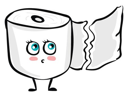 A bundle of toilet papers on a roll has a cute little face with green eyes rolled bottom-left looks scared while standing set isolated on white background, vector, color drawing or illustration. 版權商用圖片 - 132673164