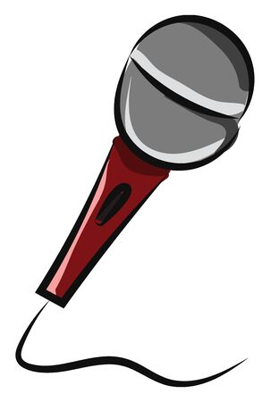Microphone filaire professionnel doté d'un interrupteur marche/arrêt pour le contrôle sur scène, d'une poignée marron et d'un filtre anti-vent et anti-pop sphérique intégré efficace, d'un vecteur, d'un dessin en couleur ou d'une illustration.