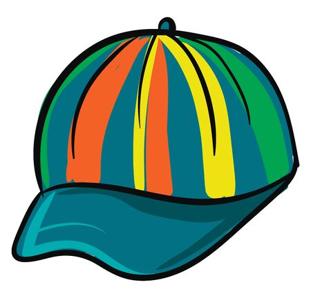 A fashionable multi-colored hat for outdoor adventures, workout routines, provides a finishing look to the holiday outfits, and adequate sun protection, vector, color drawing or illustration. Vektoros illusztráció
