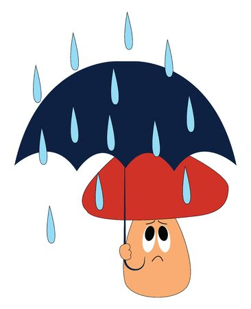 Emoji of a mushroom with a brown cap and stem holds a blue umbrella and is unhappy about the fact of refrained from playing due to the heavy pouring rain, vector, color drawing or illustration.