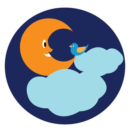 The crescent brown moon smiling at the little blue bird with yellow beak and plumage look marvelous while the floating clouds covering the sky as the background, vector, color drawing or illustration.