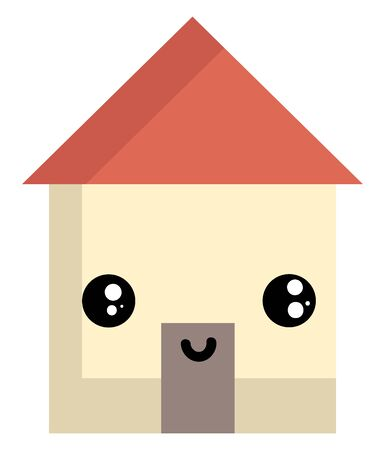 Mr.House with a red roof, the pale-brown house has a face with eyes rolled left is smiling looks cute and lovely over white background viewed from the front , vector, color drawing or illustration. Illustration