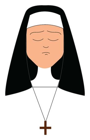 A nun wearing a black veil attached to the white cap on her head and a plus-sign pendant chain looks unhappy while eyes closed , vector, color drawing or illustration.