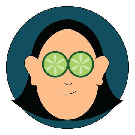 A face of a beautiful woman in nourishing face mask and thin slices of cucumbers covering her eyes over blue background viewed from the front, vector, color drawing or illustration.