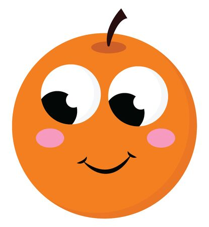 Emoji of the round orange fruit topped with a short black stalk with eyes rolled right-bottom has a cute smile turning up to the cheek, vector, color drawing or illustration. Illustration