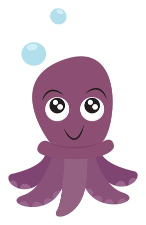 A purple-colored octopus with trailing tentacles and with eyes rolled up has a cute smile over white background with two blue bubbles drifting through the air, vector, color drawing or illustration. Illustration