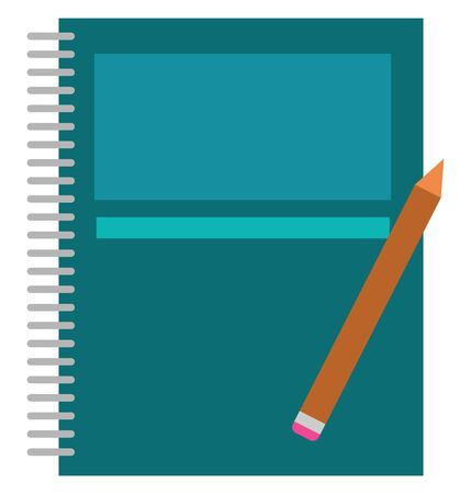 A wire-bound spring blue notebook and a pencil with a pink eraser at the back lying over it is all ready for a student to be an artist, and writer, vector, color drawing or illustration. Ilustração