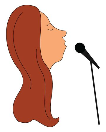 A face of a lady singer in her long, loose brown hair is singing into the microphone while her eyes closed set isolated on white background viewed from the side, vector, color drawing or illustration. Stock Illustratie