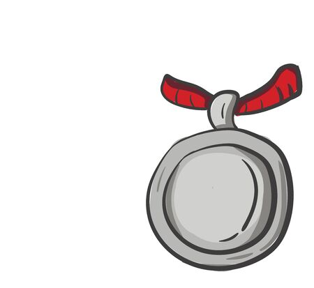 A silver metal disc of the size of a large coin attached to a short red-colored ribbon is waiting to honor some valuable person set isolated on white background, vector, color drawing or illustration.
