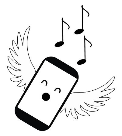 A angel in black and white has a body in the shape of a cell phone, and two opened wings, musical notes drift through the air while she is singing, vector, color drawing or illustration. Иллюстрация