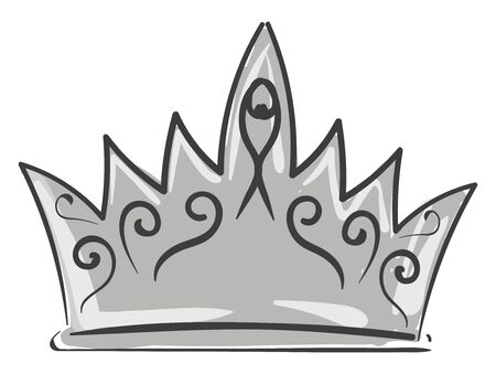 A crown with precious metals and jewels is the circular ornamental headdress typically worn by the queen or king in reign, or, people with higher authority, vector, color drawing or illustration.