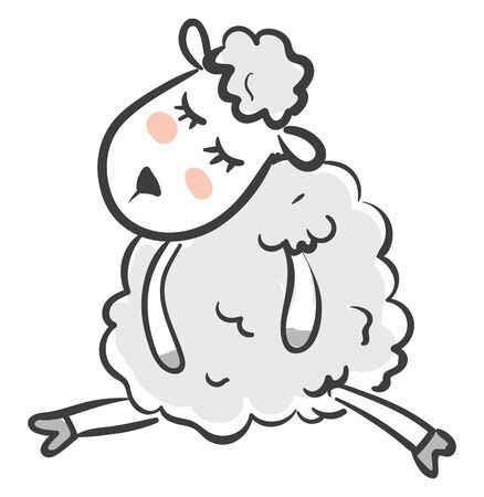 A cute sheep with an oval-shaped face and round body covered with blue wool sleeps while sitting isolated on white background viewed from the front, vector, color drawing or illustration. Illustration