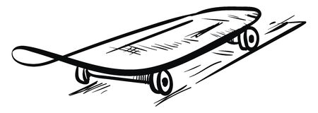 Sketch A skateboard in black and white equipped with high speed bearing wheels and ultra durable deck over white background, vector, color drawing or illustration.