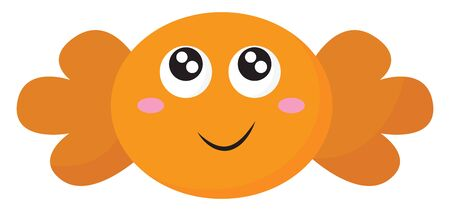 Emoji of the candy wrapped in the brown color paper has a cute little face with two eyes rolled top-left has a closed smile turning up to the cheek, vector, color drawing or illustration.