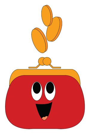 A ladys red money purse with golden frame and clutch type has a face with eyes rolled up, tongue stuck out, and golden coins jumping out of it while laughing, vector, color drawing or illustration.