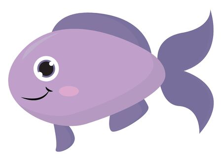 Emoji of the purple fish with an oval-shaped body, forked tail, and continuous fins is swimming set isolated on white background viewed from the side, vector, color drawing or illustration.