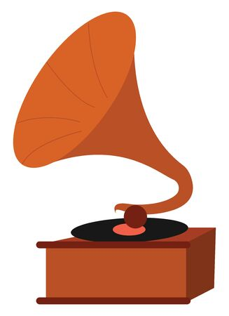 A wooden and brass vintage gramophone that plays records and music similar to a cassette player, CD player, or MP3 player, isolated on white background, vector, color drawing or illustration.