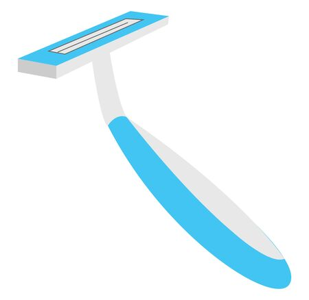 A blue razor with the shaving cartridge, and a trimmer blade, designed to deliver the closest and smoothest shave for human, and elevates the shaving experience, vector, color drawing or illustration. Vettoriali