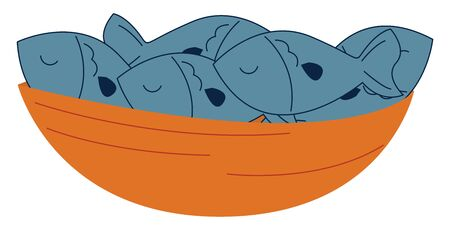 A bowl filled with raw blue-colored fish is all set ready to cook it as a steak, fillet, or any other, set isolated on white background viewed from the front, vector, color drawing or illustration.