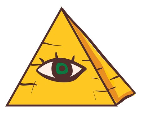 The A yellow pyramid whose outer surfaces are triangular and that converge to a single point at the top has a green human eye at its front, vector, color drawing or illustration. Ilustração