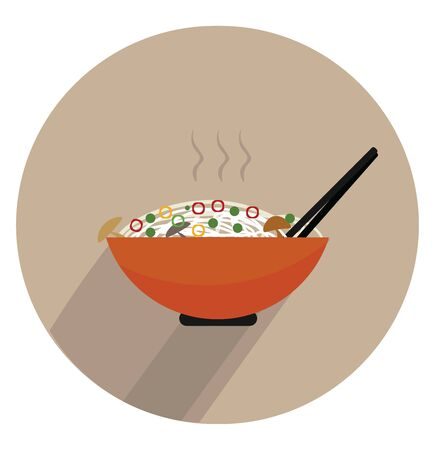 Portrait of the hot steaming pasta cooked with vegetables on a giant orange bowl with a tong over white background viewed from the front, vector, color drawing or illustration.