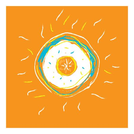 Portrait of an orange fruit illustrated from the top exposing the seeds over an orange background with few sprinkles in colors of white and yellow, vector, color drawing or illustration. Ilustração