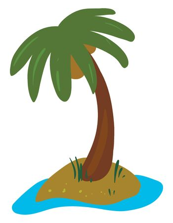 A palm tree has a crown of very long feathered or fan-shaped leaves bearing few coconuts grown along with some shrubs above the land surrounding water, vector, color drawing or illustration.