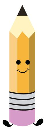 Emoji of a colored pencil with the sharpened lead facing the ceiling has a cute closed smile while sitting isolated on white background viewed from the front, vector, color drawing or illustration. Ilustrace