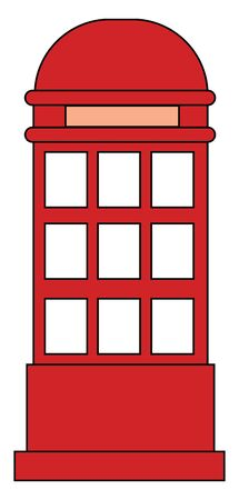 A telephone call box or small room with a public telephone designed to help communicate with people from near or distant places all over the world, vector, color drawing or illustration. Stock Illustratie