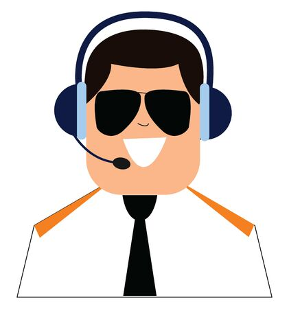 A pilot in his uniform talks through the headset and controls the airplane to provide safe and sound energy of the passengers and crews traveling in the flight, vector, color drawing or illustration. Illustration