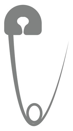 A metallic safety pin with a point bent back to the head is left opened used to fasten pieces of the clothing, vector, color drawing or illustration.